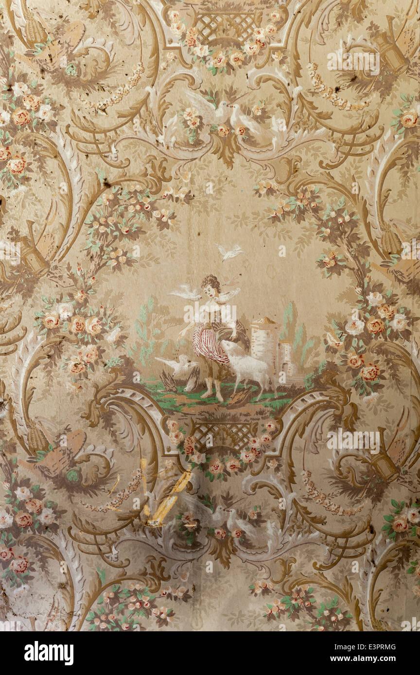 detail der pastorale szene auf alte tapete stockfoto, bild: 71186992