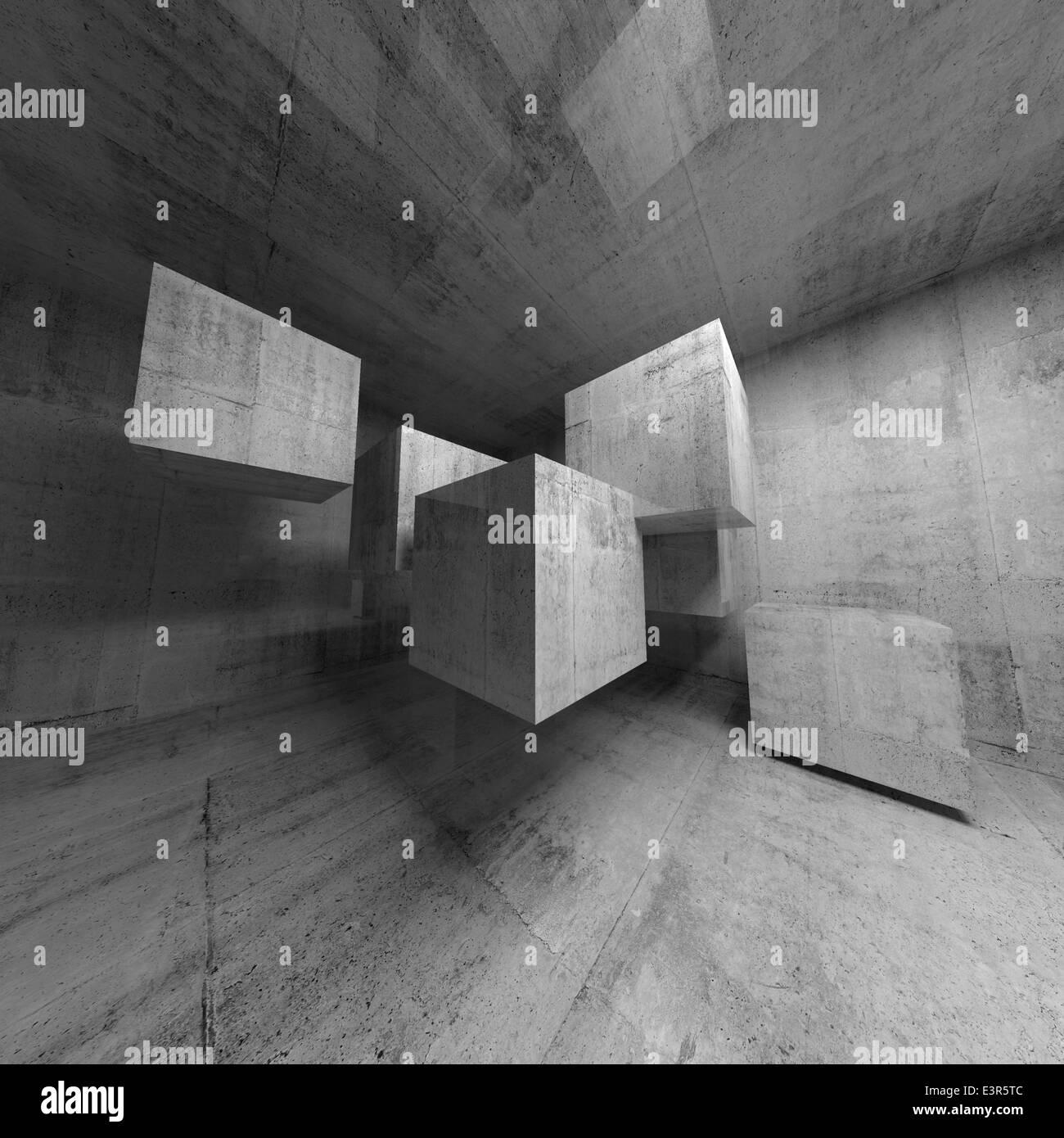 Abstrakte konkrete 3d Interieur mit fliegende Würfel Stockfoto, Bild ...