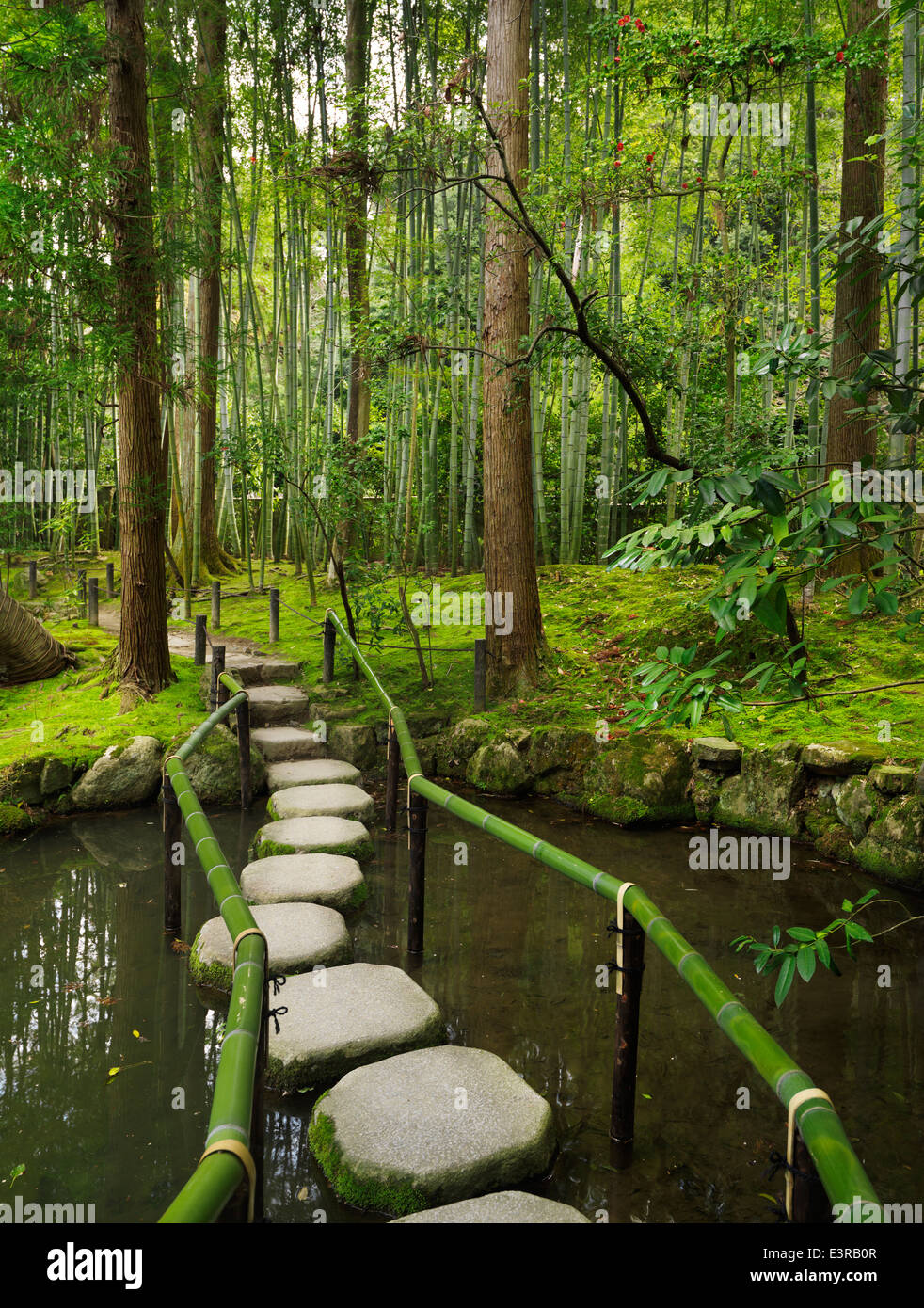 Trittsteine In Einem Teich In Einem Japanischen Zen Garten Kyoto