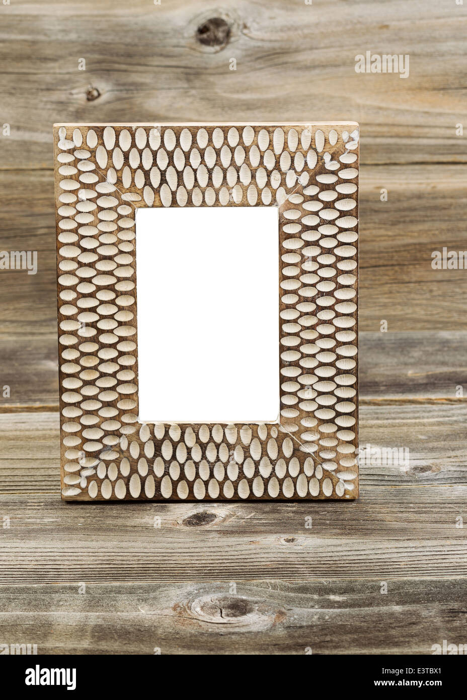 Vertikale Foto von Holz Bilderrahmen, innerlich, auf rustikalen Holz ...