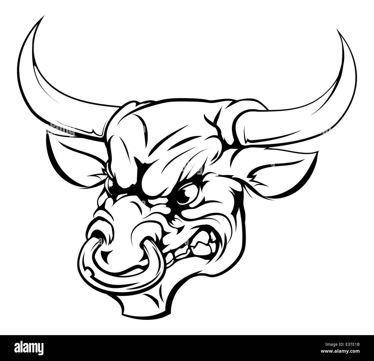 Eine schwarz / weiß Darstellung einen wilden Stier Tier Charakter