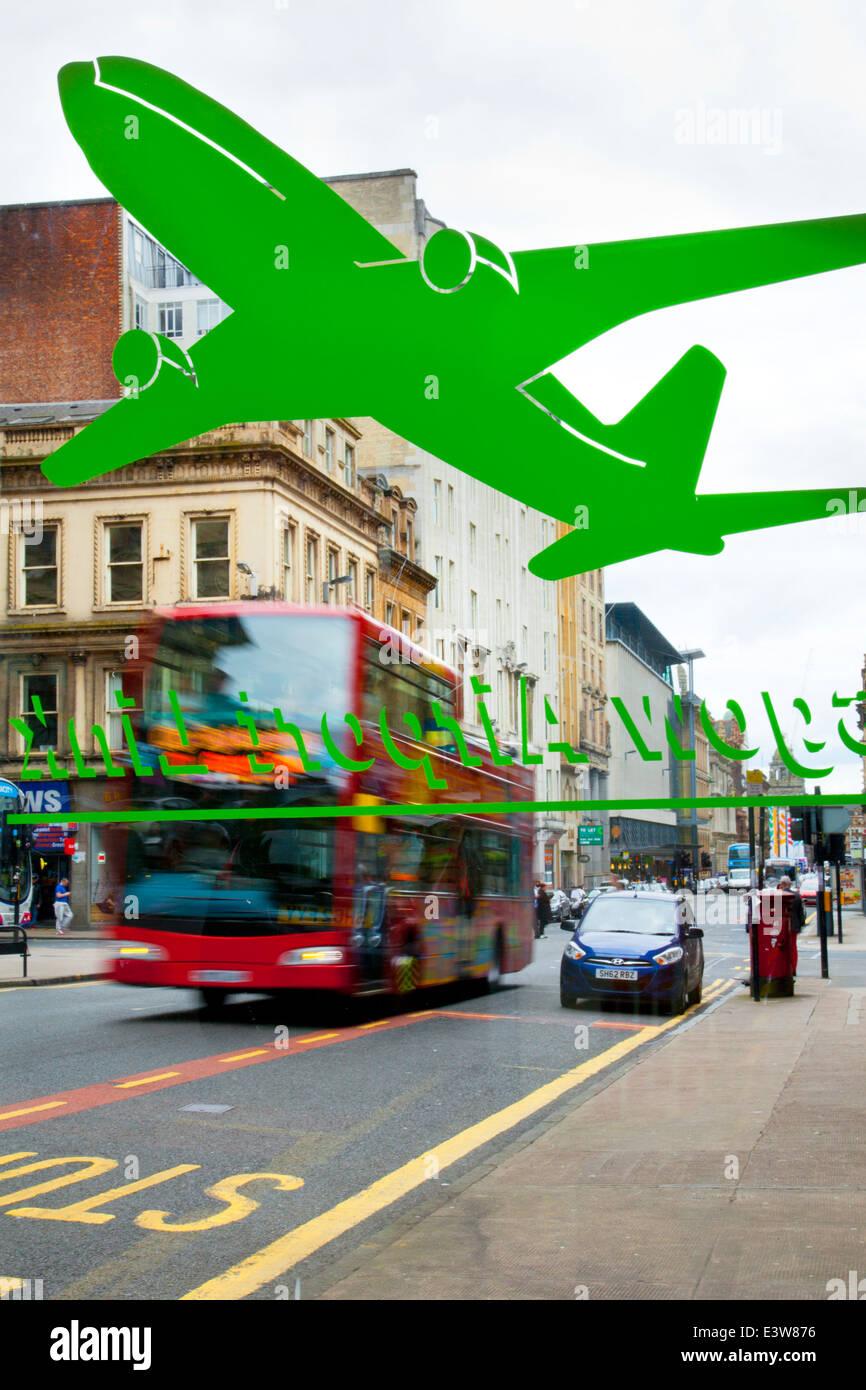 Wartehäuschen, Bushaltestelle, Wartehallen, Transport,. Glasgow Busbahnhof Artwork_a grün lackierten Flugzeug Stockbild