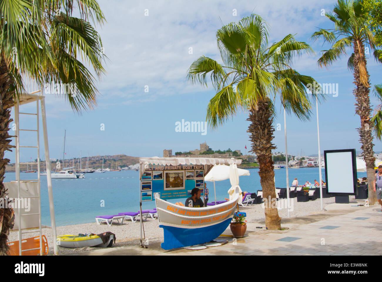 Reisebüro Boot Reise stand, Cumhuriyet Meer Straße, Bodrum, Mugla Region, westliche Türkei, Kleinasien Stockbild