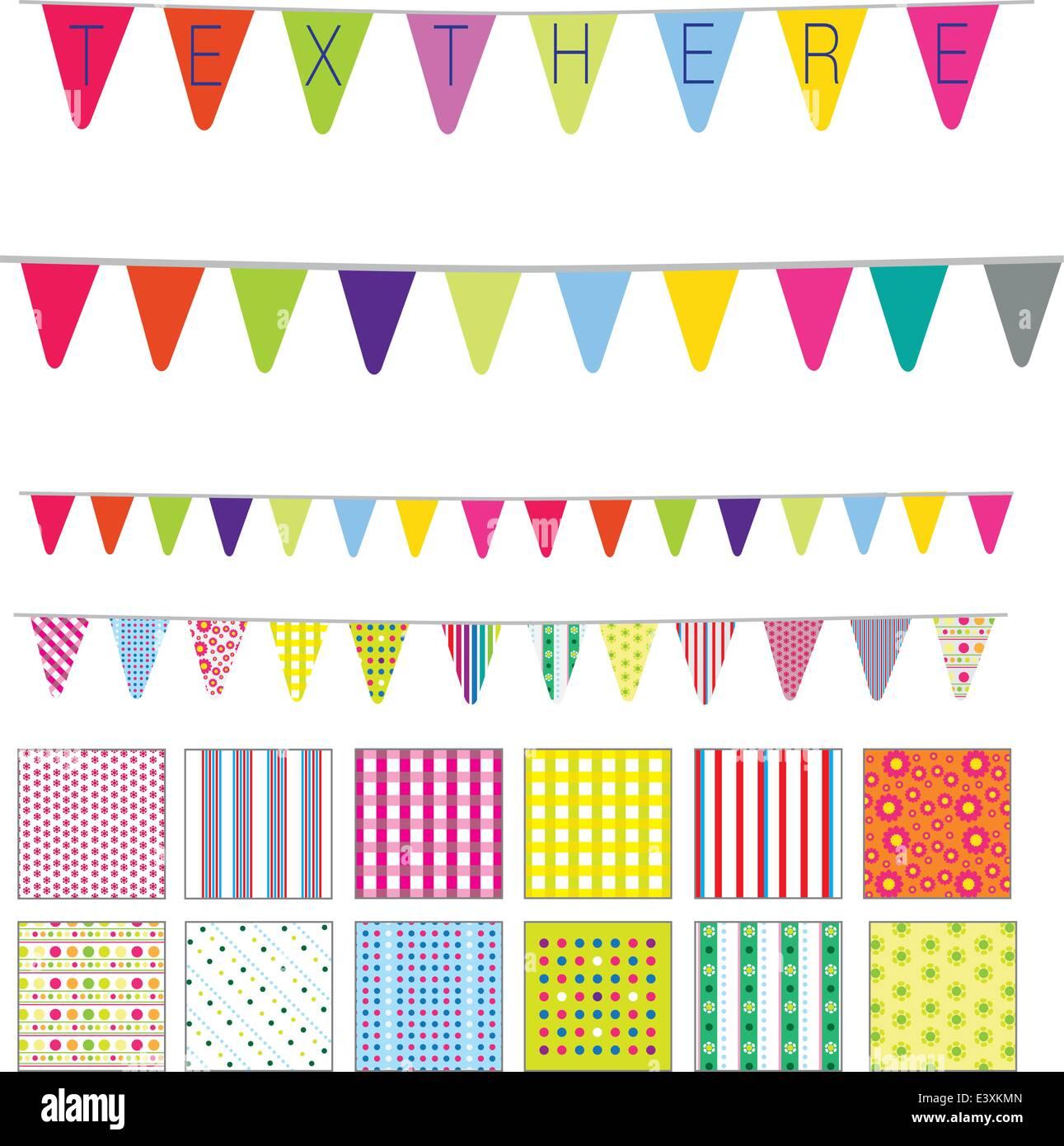 Muster und Banner in niedlichen Retrostil, Flecken, Streifen und Blumen Motive Stock Vektor