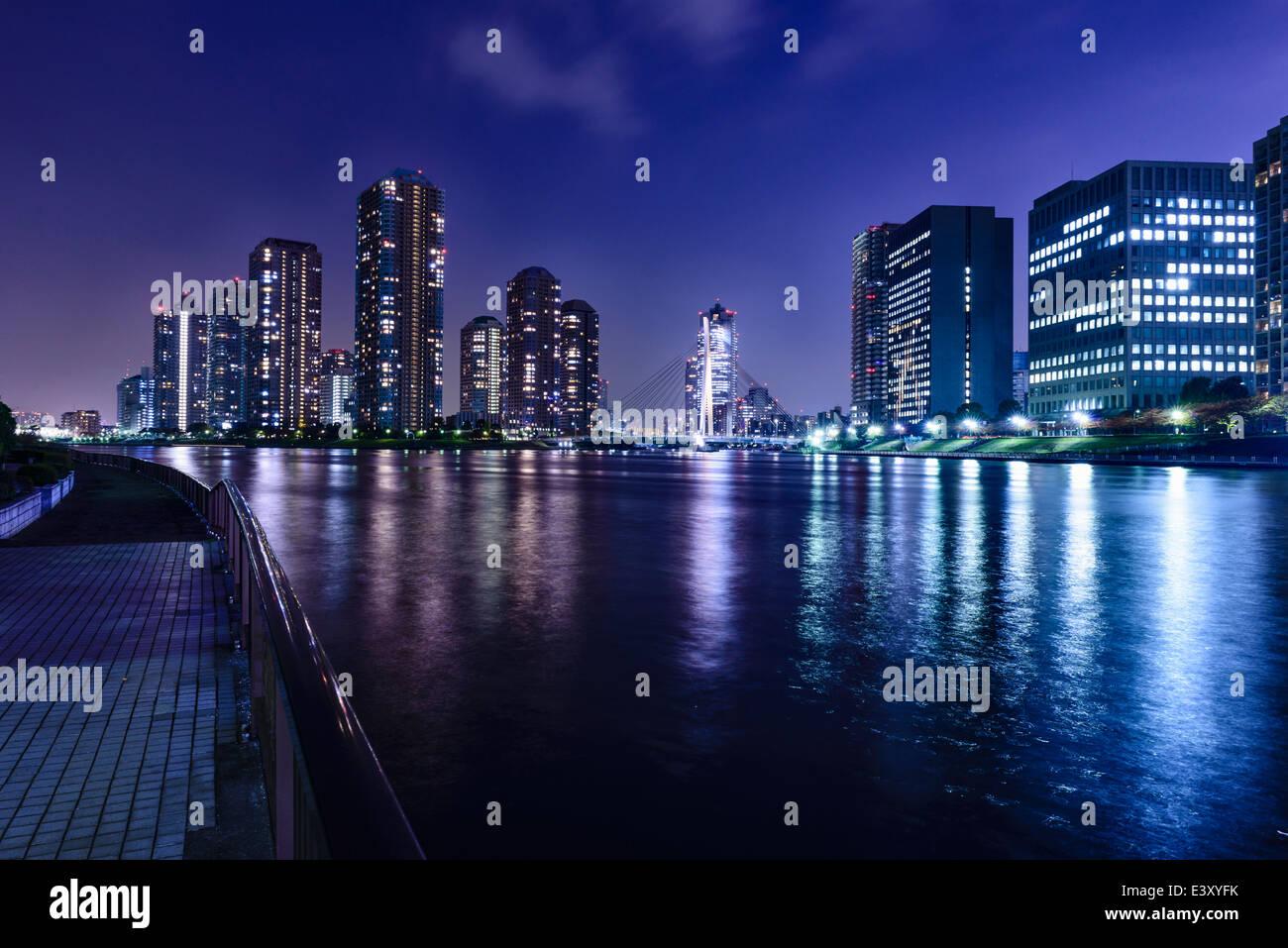 Silhouette der Tokioter Skyline leuchtet in der Nacht, Tokyo, Japan Stockbild