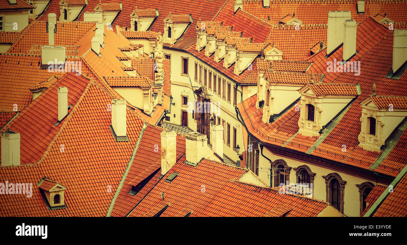 Dächer von Prag, Vintage-retro-Stil. Stockbild
