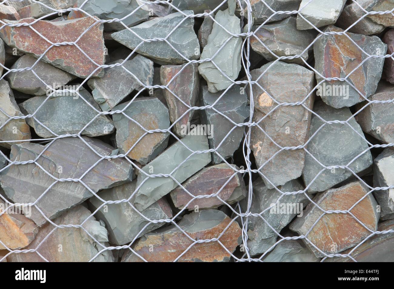 Rock-Zaun mit Split Rock und sechseckigen wie Draht Maschendraht ...