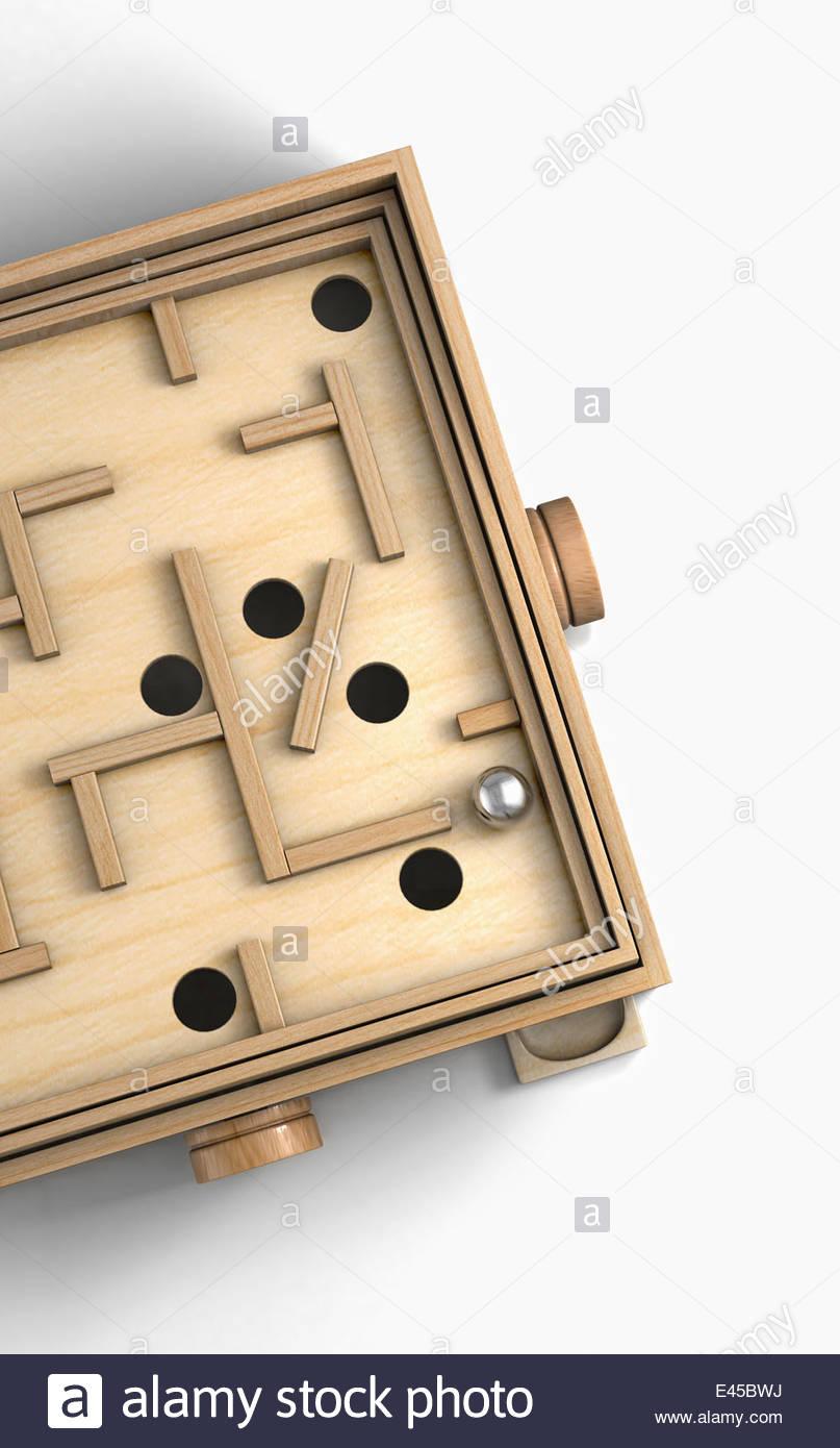 Holz Spielzeug Labyrinthspiel Stockbild