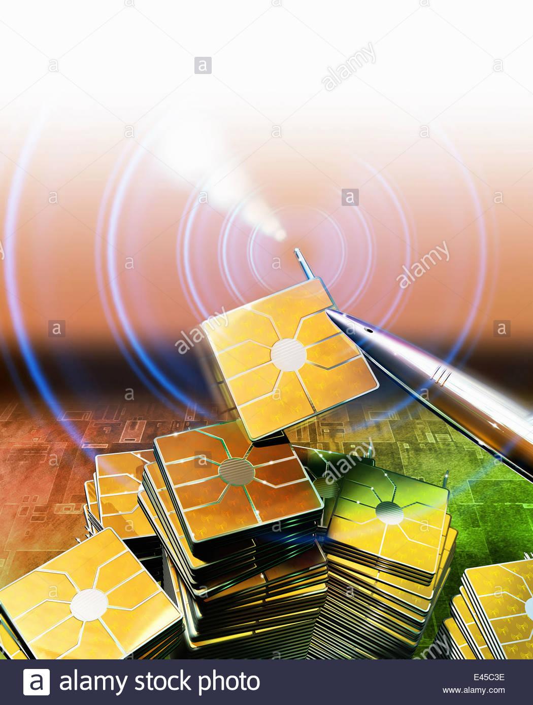 Pinzette anheben Computerchip mit WiFi-Signal vom Stapel Stockbild