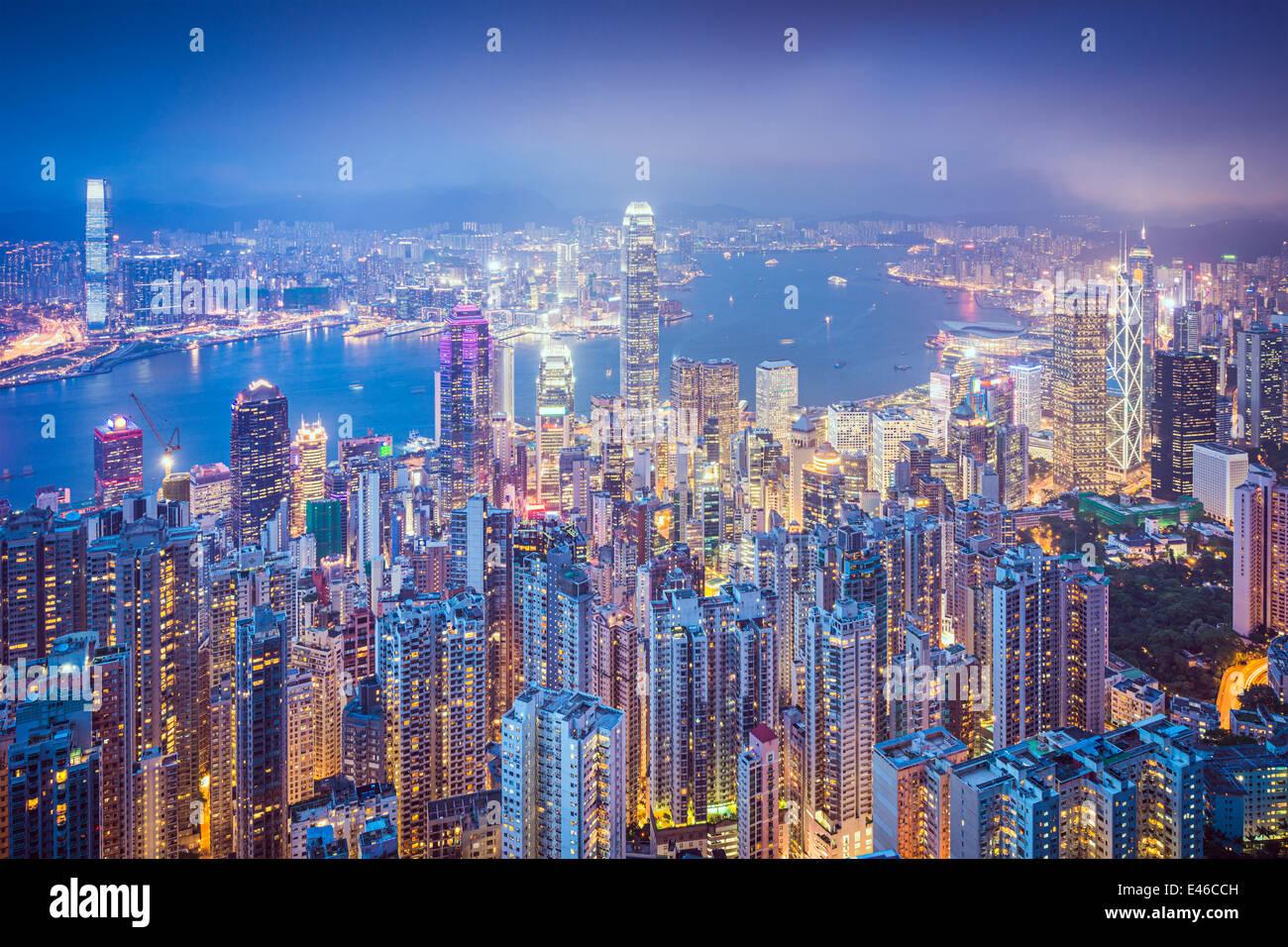 Hongkong Skyline der Stadt vom Victoria Peak. Stockbild