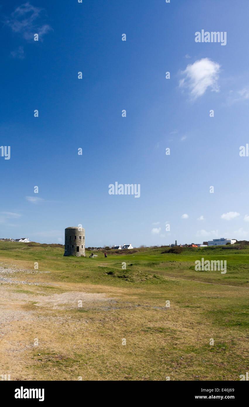 Schlupfloch thront auf einem Golfplatz in Guernsey Kanalinseln Stockbild