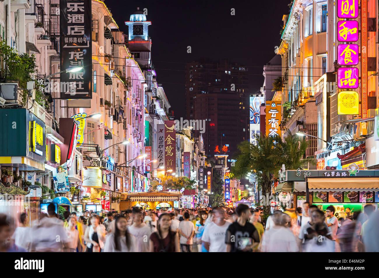 Zhongshan Straße, Xiamen, Fujian, China. Stockbild