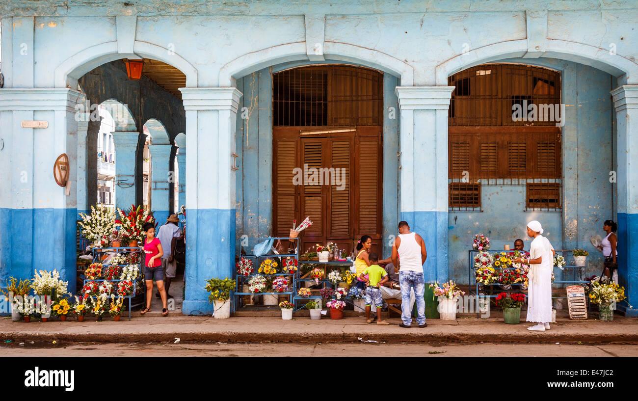 Ein Blumenmarkt in Havanna, Kuba Stockbild