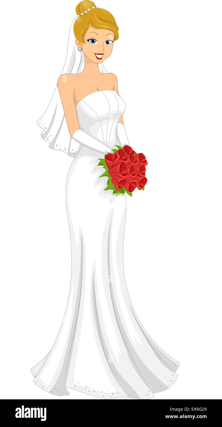 Abbildung Einer Schonen Kaukasischen Braut In Ihrem Hochzeitskleid