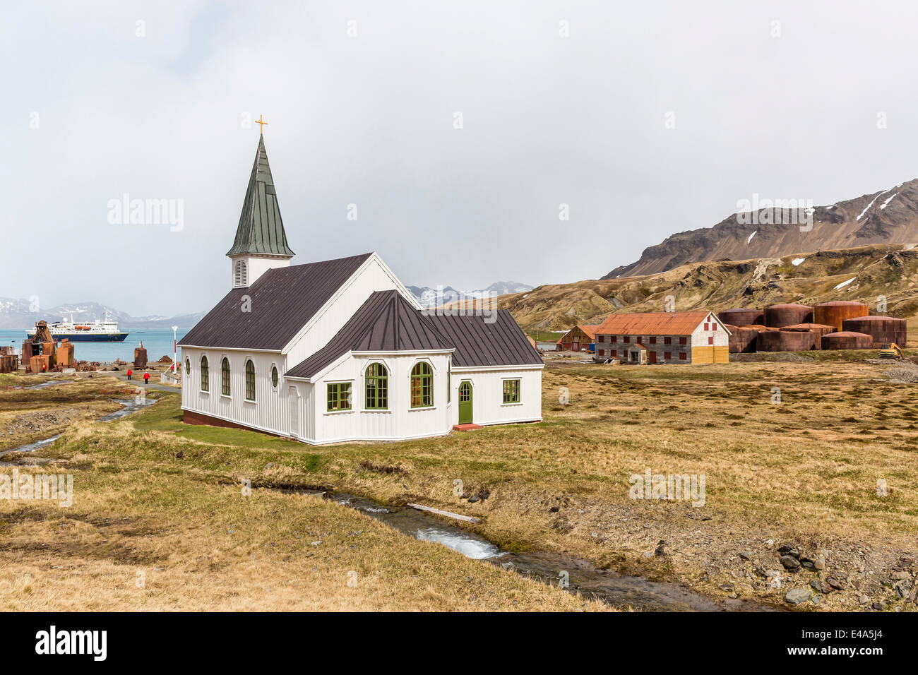 Die verlassenen und kürzlich restaurierten Walfangstation in Grytviken, Südgeorgien, UK Overseas Protektorat, Stockbild