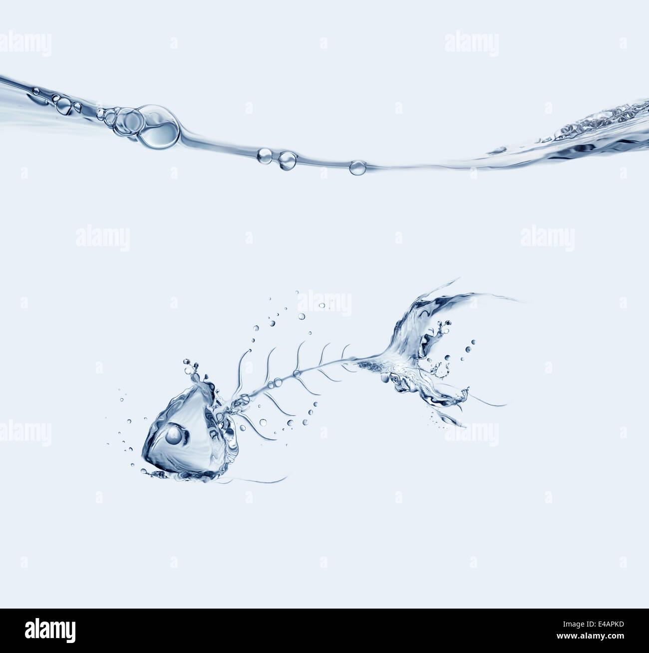 Ein Wasser-Fishbone im Wasser zu versinken. Stockbild