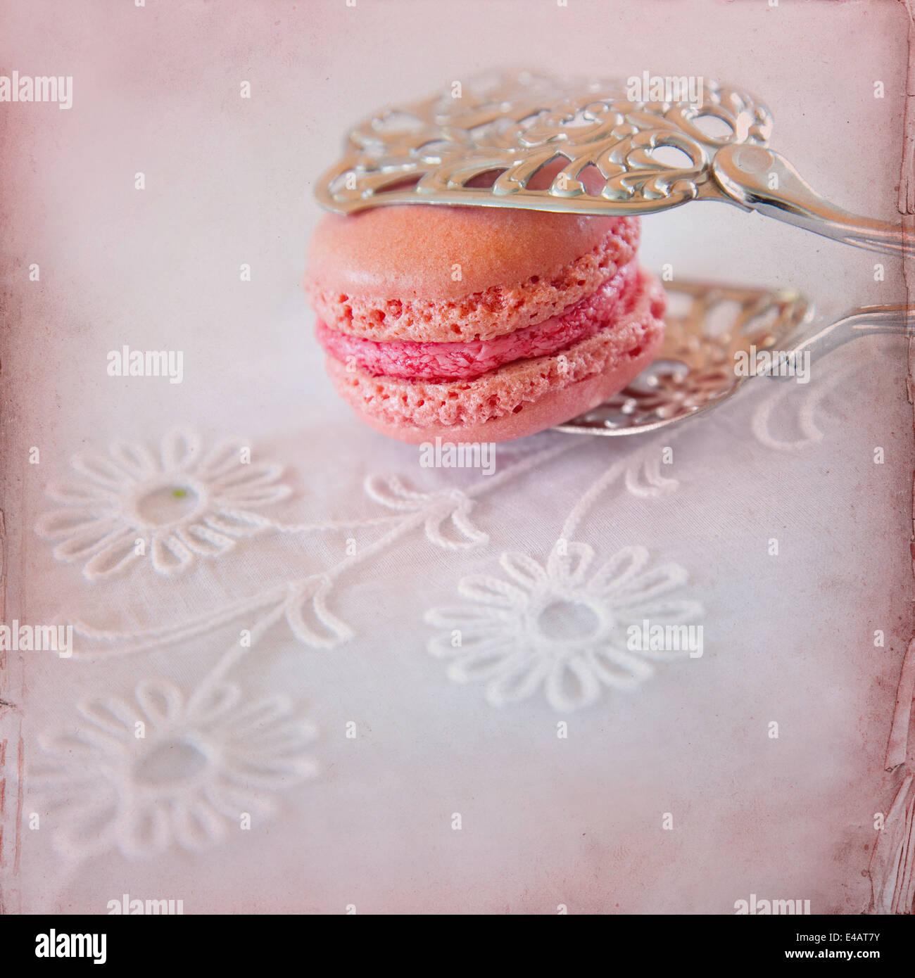 Süßen Macarons Papierhintergrund Stockbild