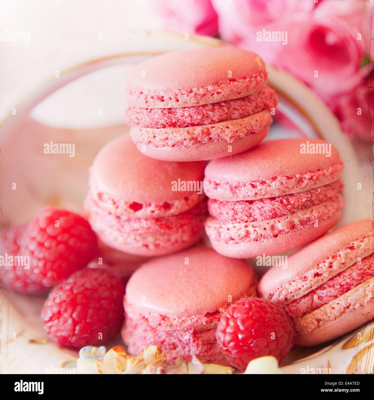 Süßen Macarons Papierhintergrund Stockfoto