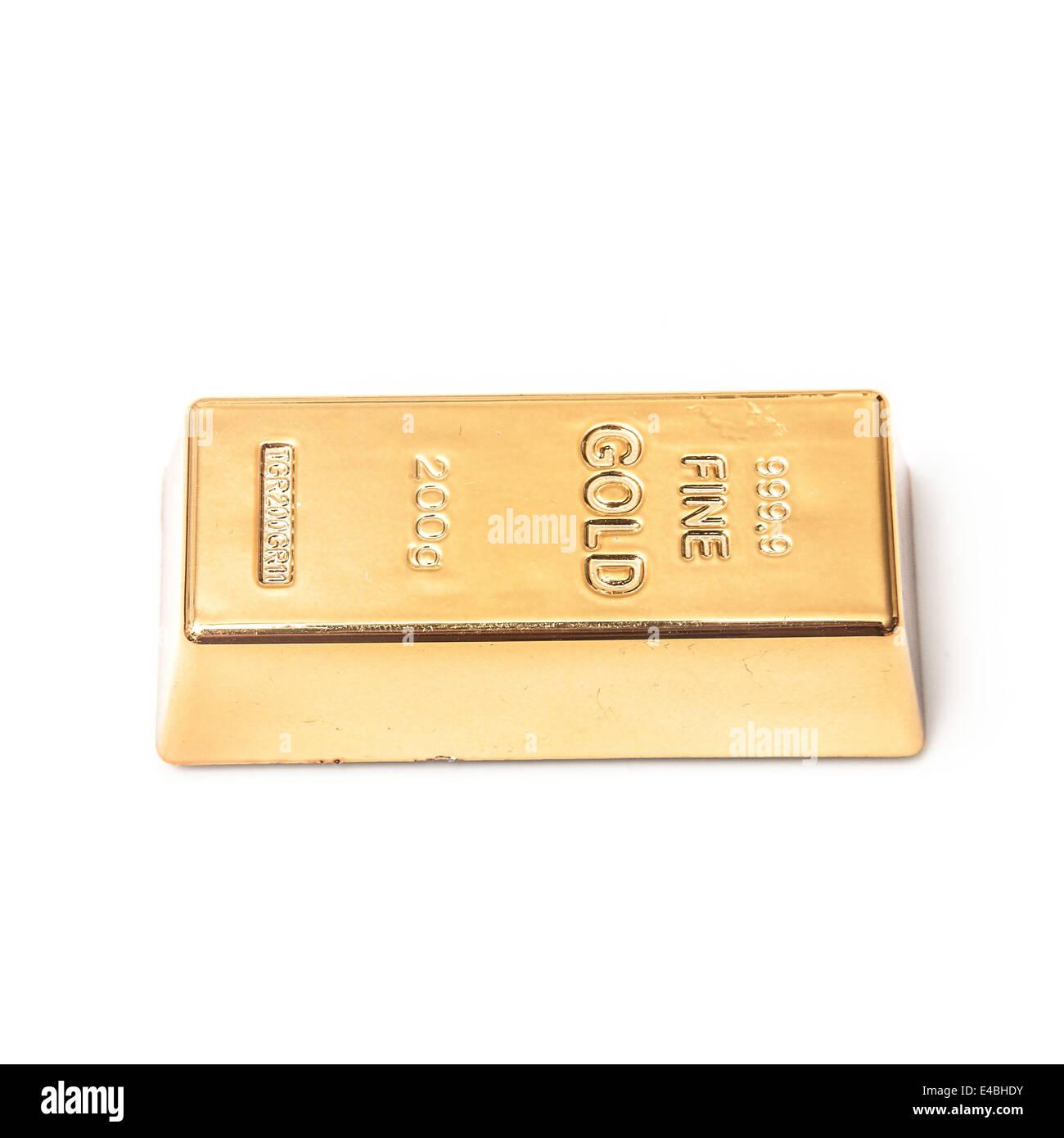 200 Gramm gold Bar oder Barren isoliert auf einem weißen Studio-Hintergrund. Stockbild