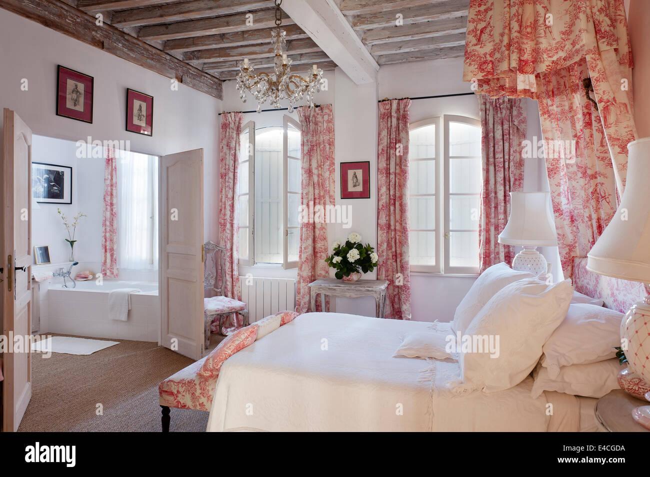 Rosa und wei e toile de jouy stoff auf kissen vorhang und - Vorhang auf englisch ...