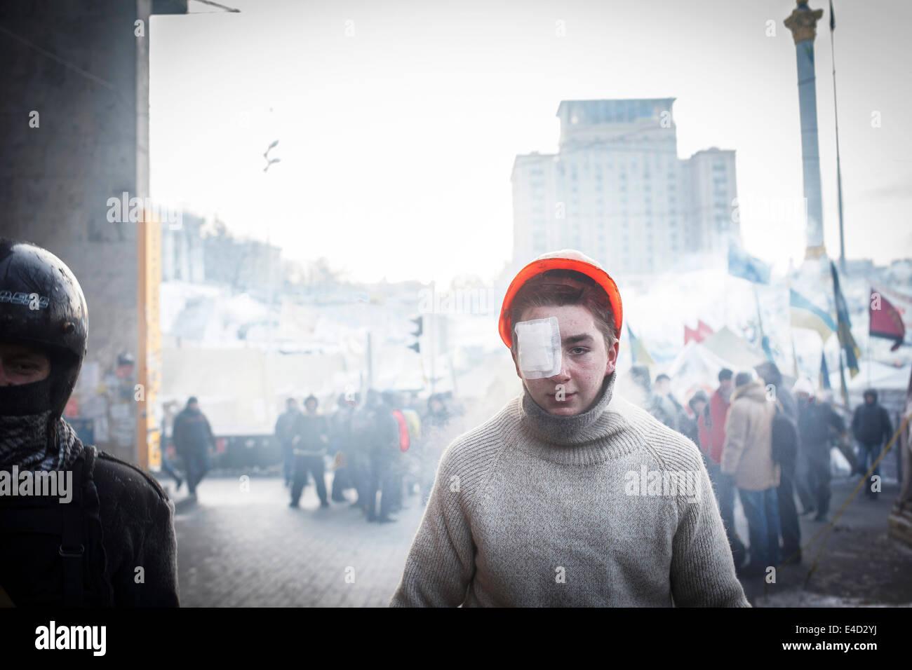 Verletzter Demonstrant, Euromajdan, Kiew, Ukraine Stockbild