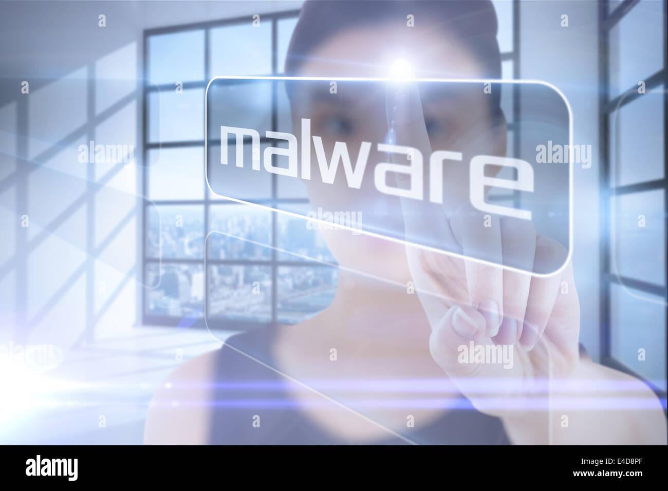 Geschäftsfrau Wort Malware auf Stockbild