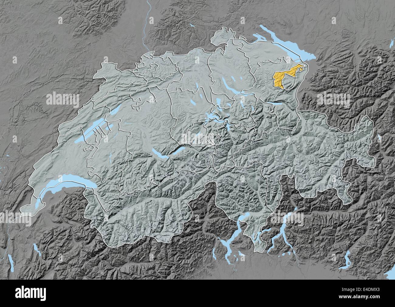 Kanton Appenzell Ausserrhoden, Schweiz, Reliefkarte Stockbild