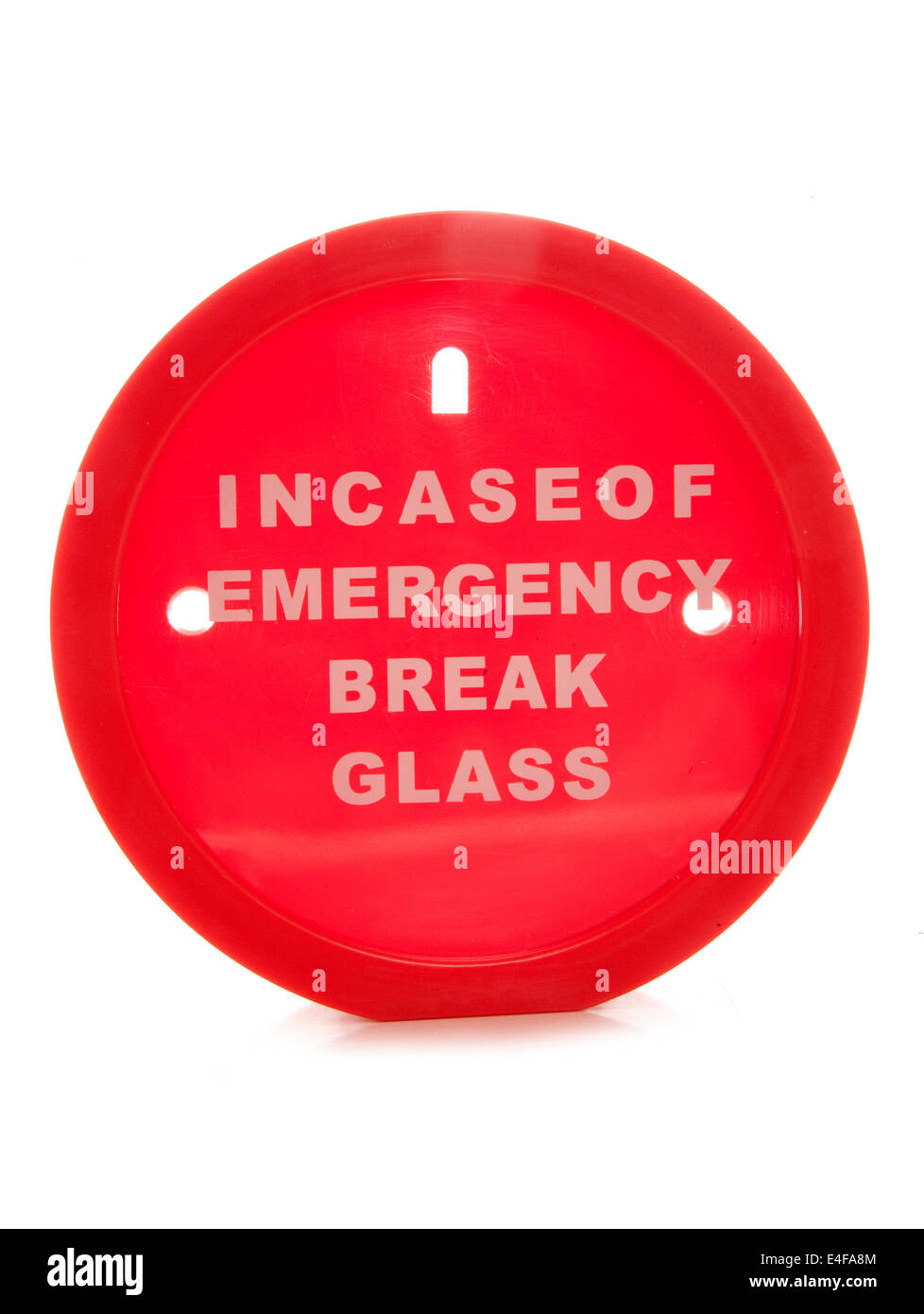 Incase der Notbremse Glas Geld Box Ausschnitt Stockbild