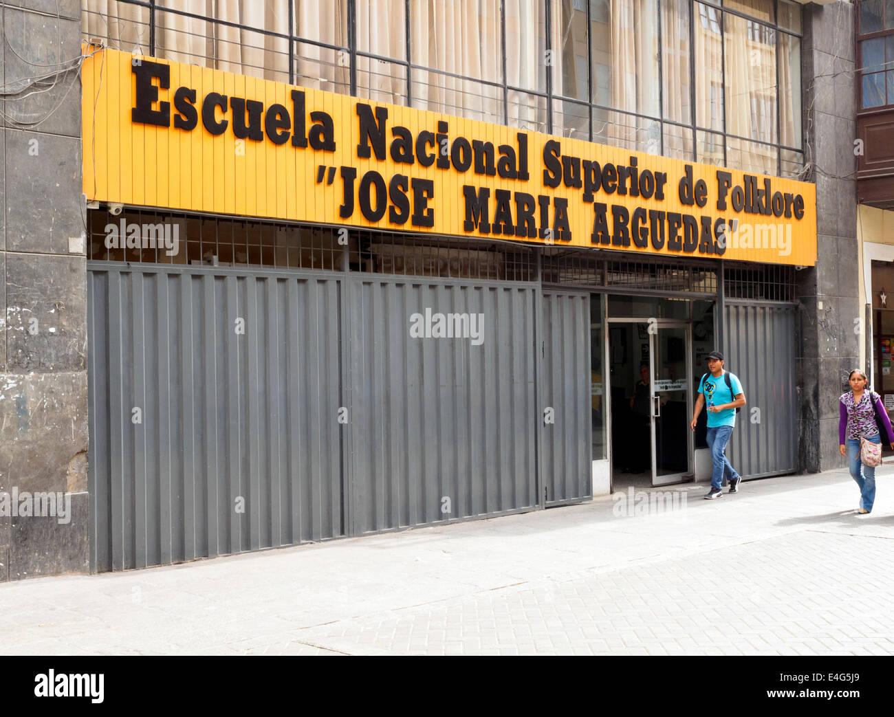 Nationale Schule der Folklore - Lima, Peru Stockbild