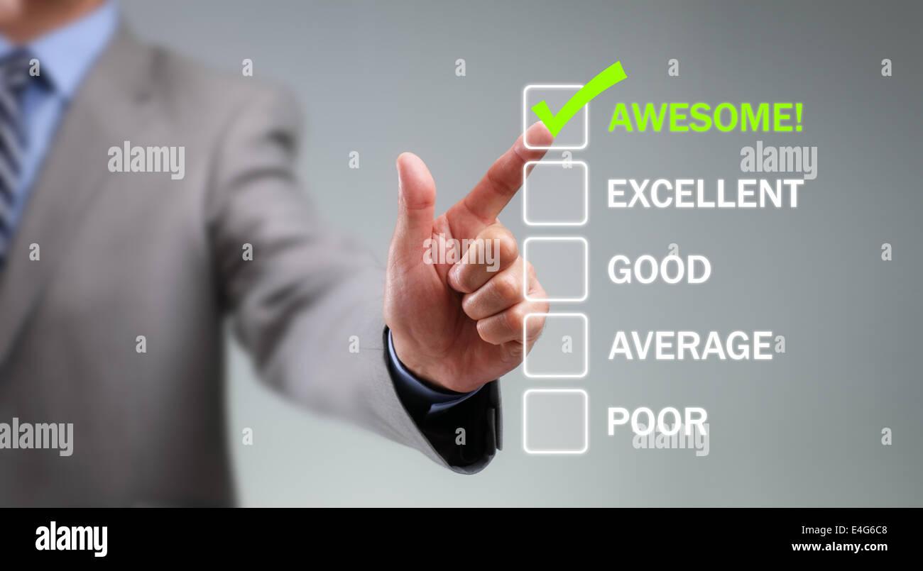 Umfrage zur Kundenzufriedenheit service Stockbild