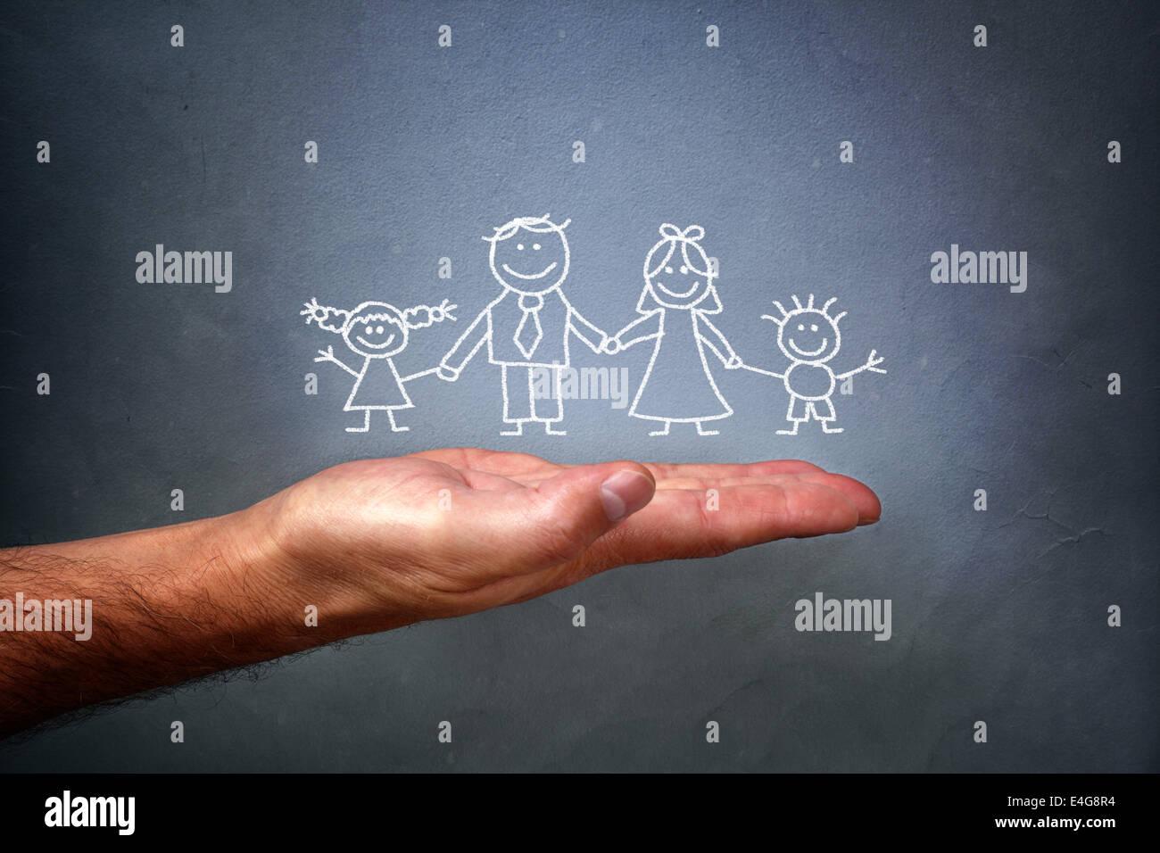 Kreidezeichnung einer Familie Stockbild