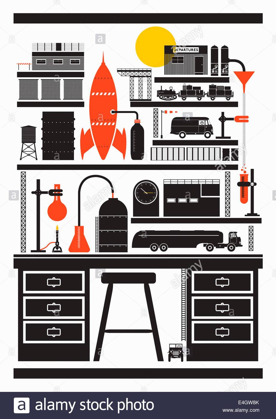 Transport und Treibstoff und Energie Industrie Montage auf Schreibtisch Stockbild