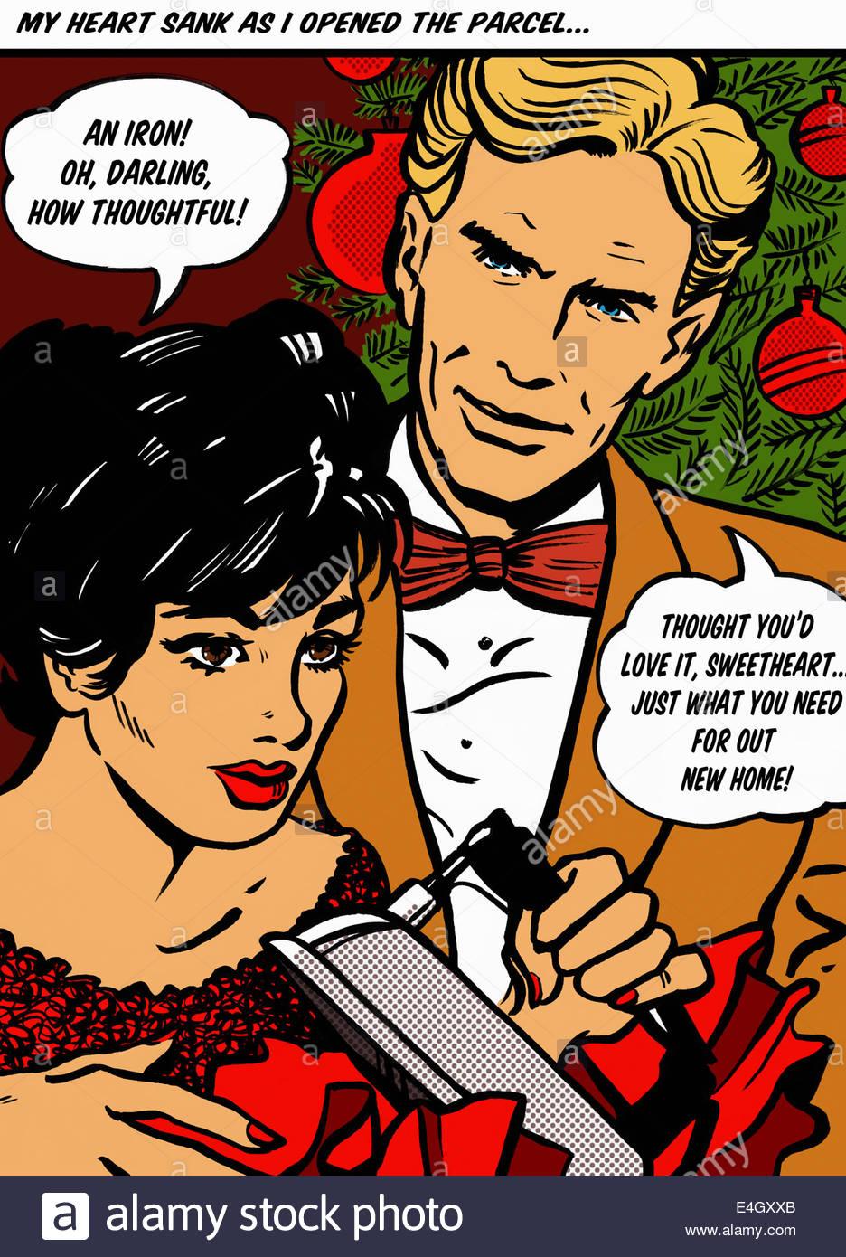 Weihnachtsgeschenke Für Mann Und Frau.Enttäuscht Frau Empfangen Eisen Als Weihnachtsgeschenk Von Mann