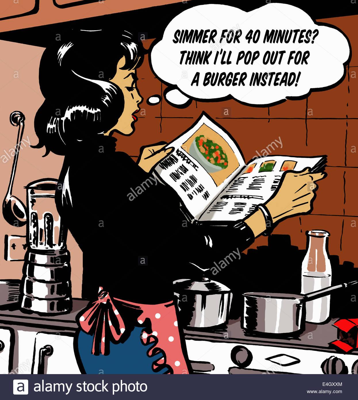 Frau mit Sprechblase lesen Kochbuch in Küche, Kochen und die ...