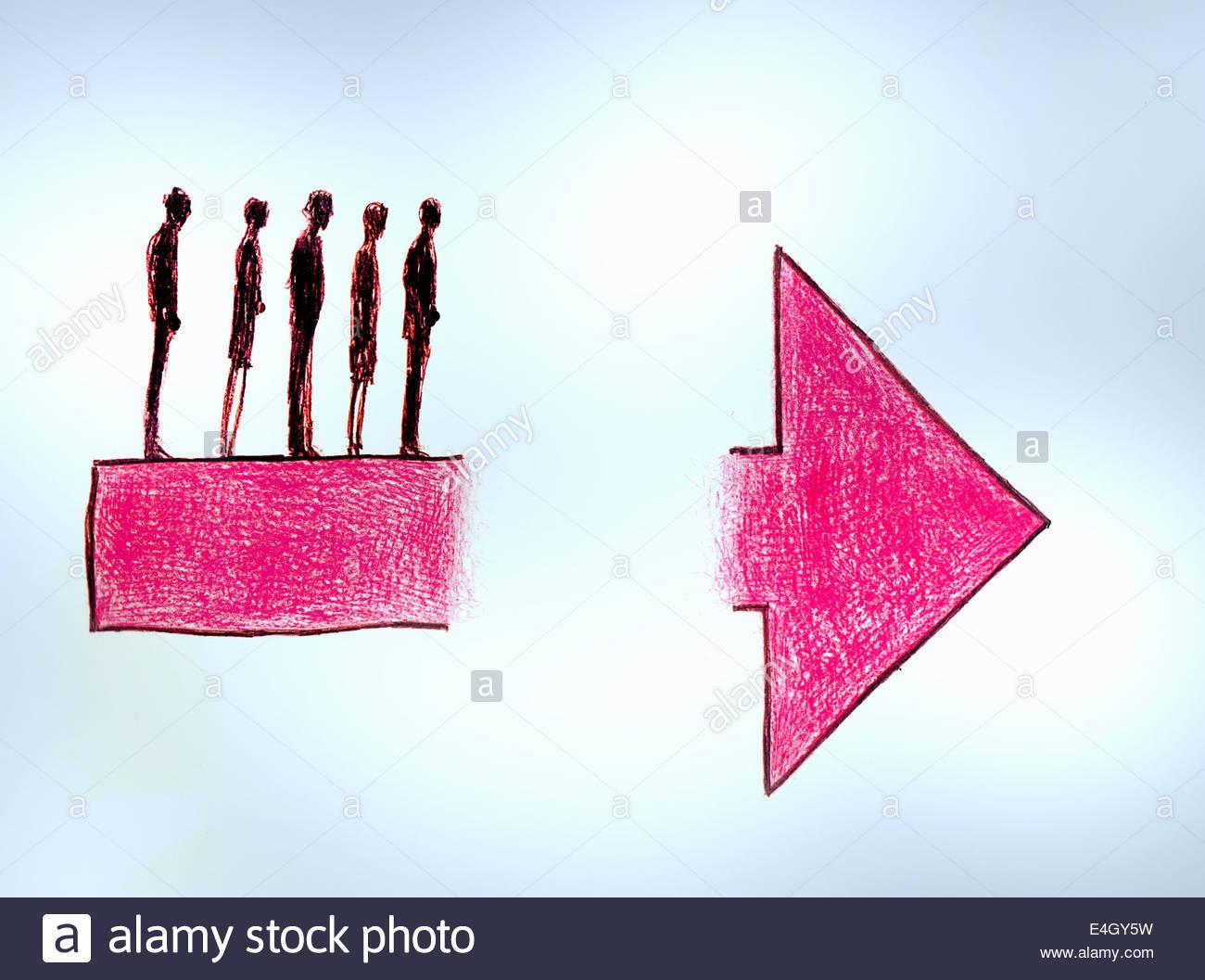 Geschäftsleuten stehen am Rand der Lücke im Pfeil Stockbild