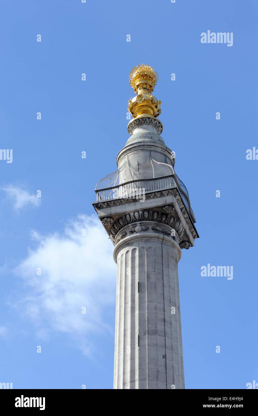 Oben auf dem Denkmal oder das Denkmal für den großen Brand von London.  Fisch-St Hill, City of London, Stockbild