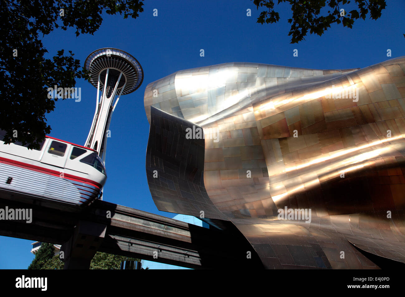 Space Needle, die Mono-Rail und der EMP-Museum von Frank Gehry entworfen Stockfoto
