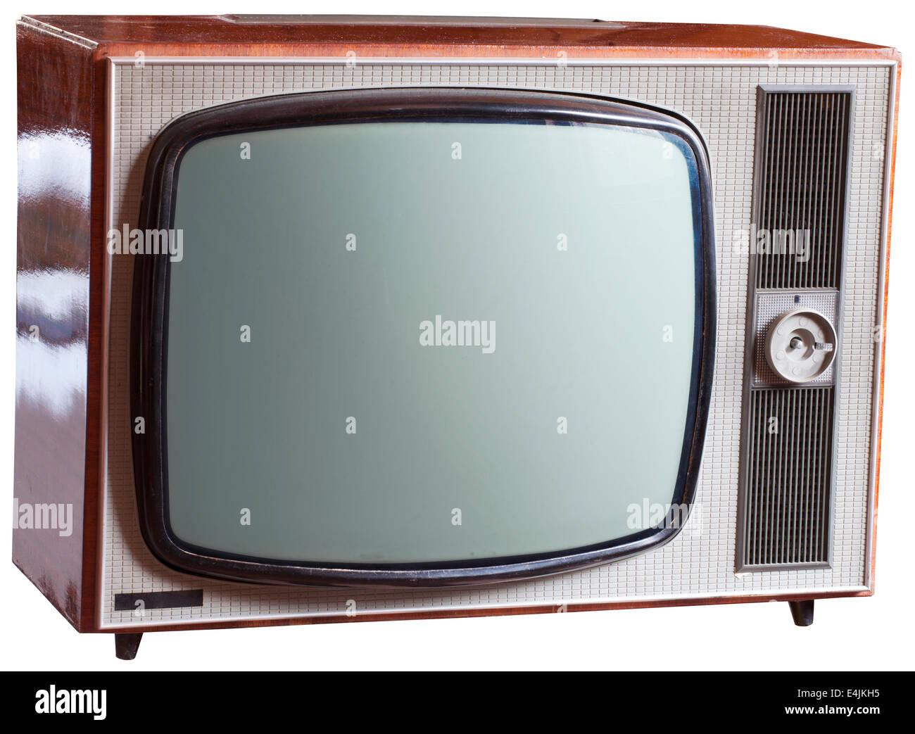 alte russische schwarz wei fernseher isoliert auf weiss. Black Bedroom Furniture Sets. Home Design Ideas