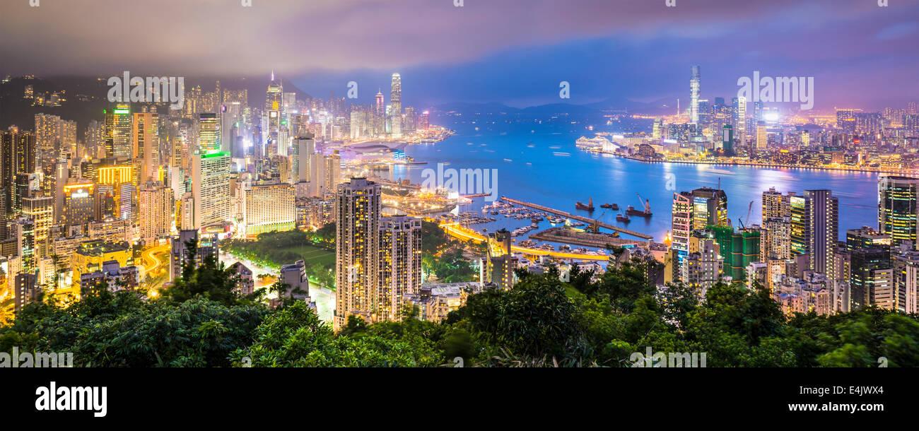 Skyline von Hong Kong, China Stockbild