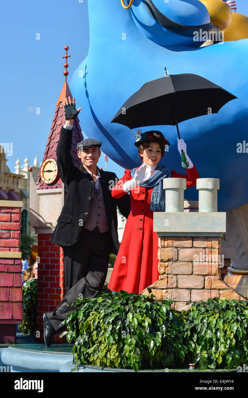 Mary Poppins und Bert, Figuren, Disneyworld, Orlando Stockbild