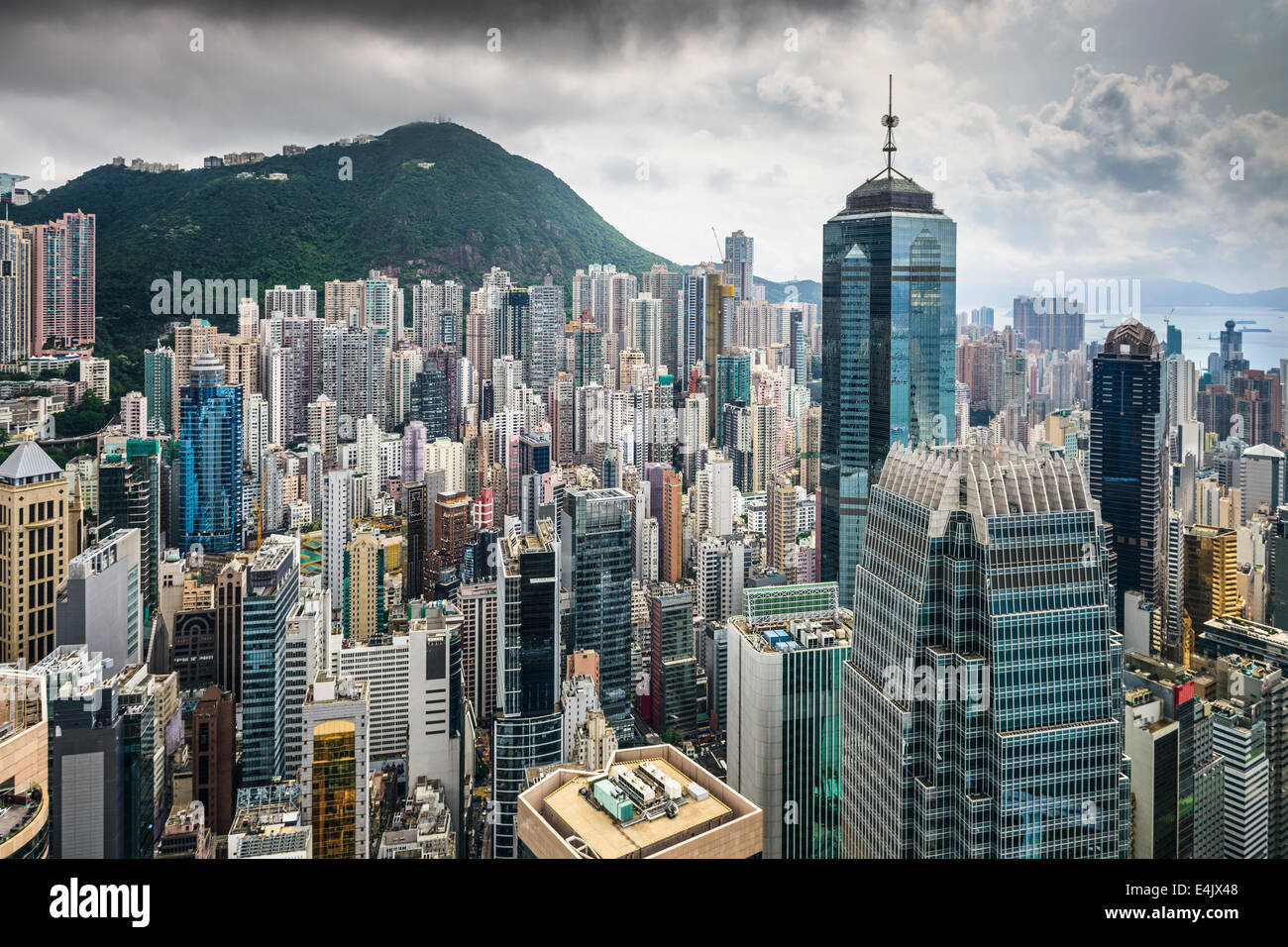 Hong Kong, China Luftaufnahme des Stadtbildes im Victoria Harbour. Stockbild