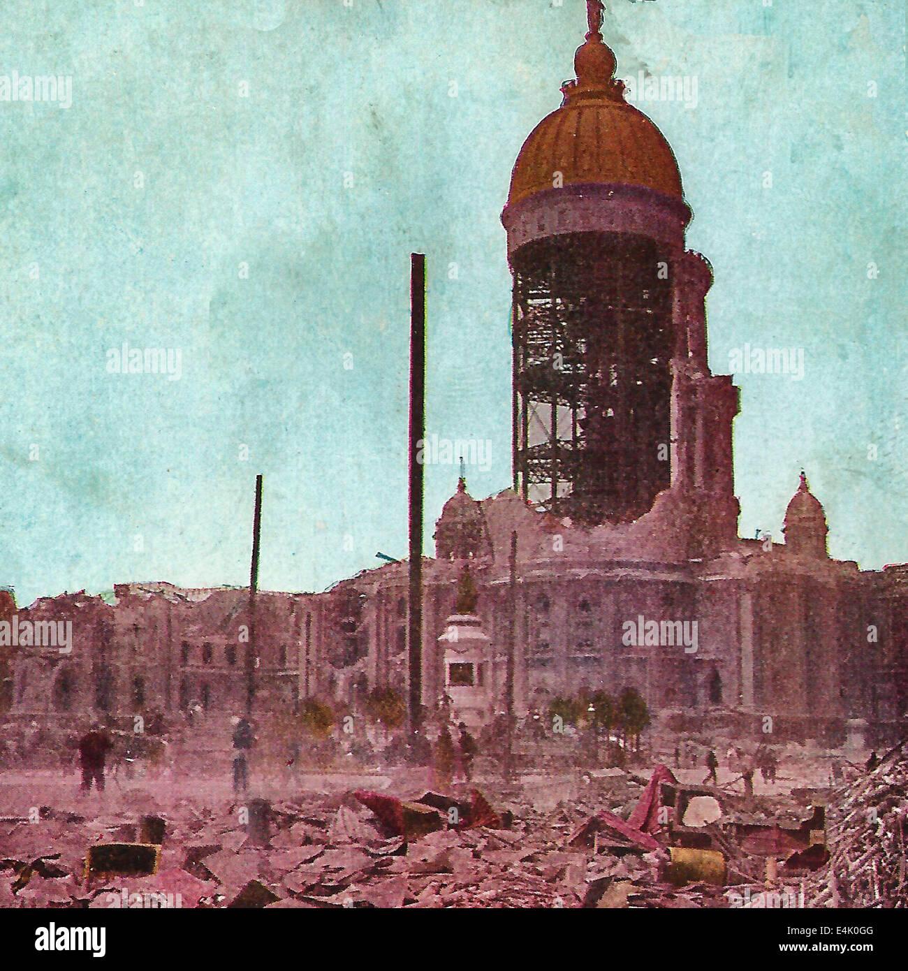 San Francisco sechs - Millionen Dollar-Rathaus mit der kommunalen Datensätze durch Erdbeben zerstört Stockfoto