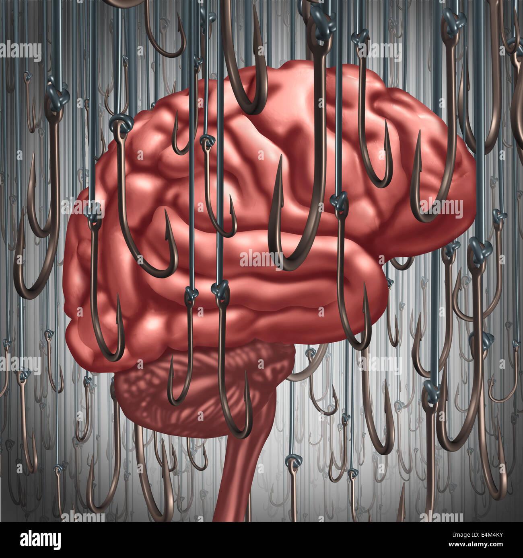 Sucht und Abhängigkeit-Konzept als ein menschliches Gehirn gelockt und umgeben von Angelhaken als Risiko-Symbol Stockbild