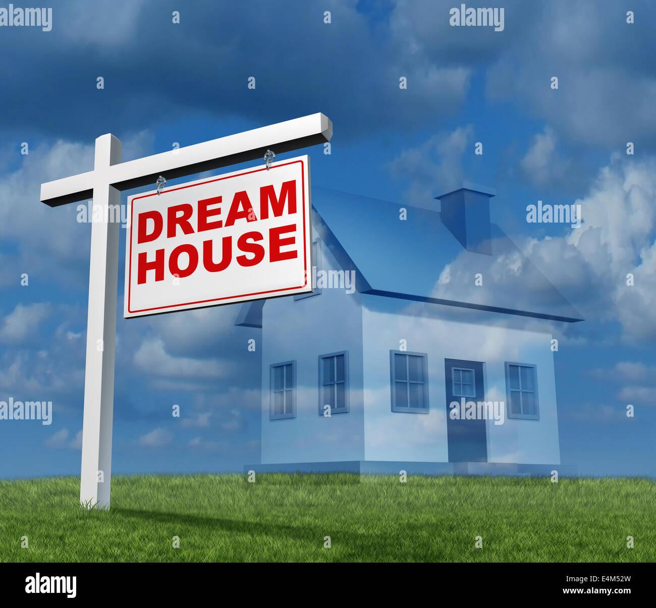 Traum-Haus-Konzept als ein Immobilien-Zeichen mit einer einzigen Familie nach Hause Imaginationas einen Plan oder Stockbild