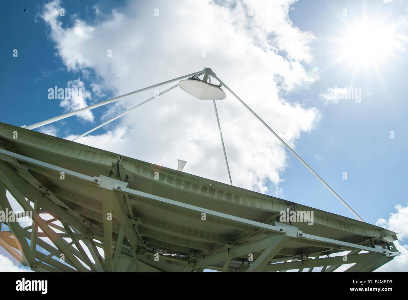 Sat-Empfänger-Antenne und Sonne Stockbild