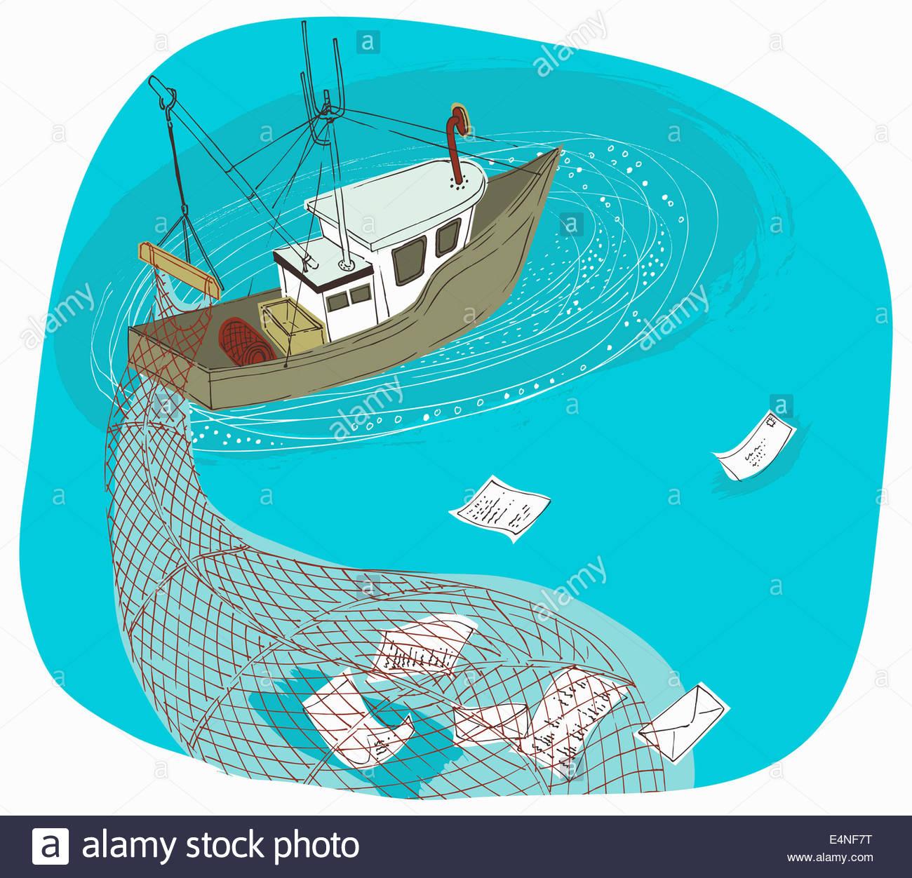 Trawler Schiff mit net Phishing und sammeln von Informationen Stockbild