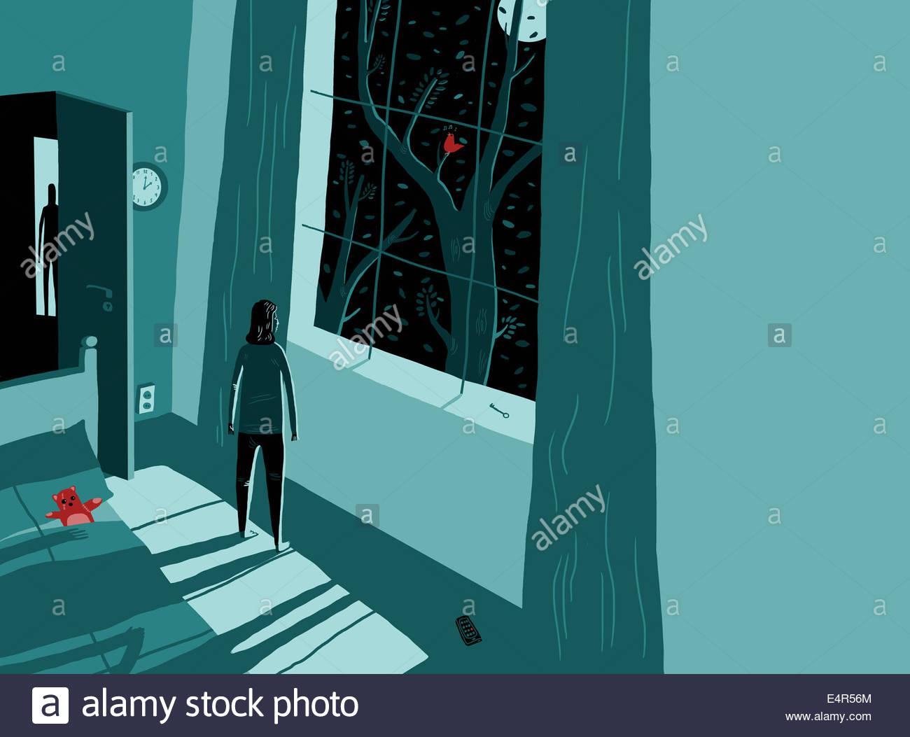 Frau aus Fenster mitten in der Nacht Angst Stockfoto