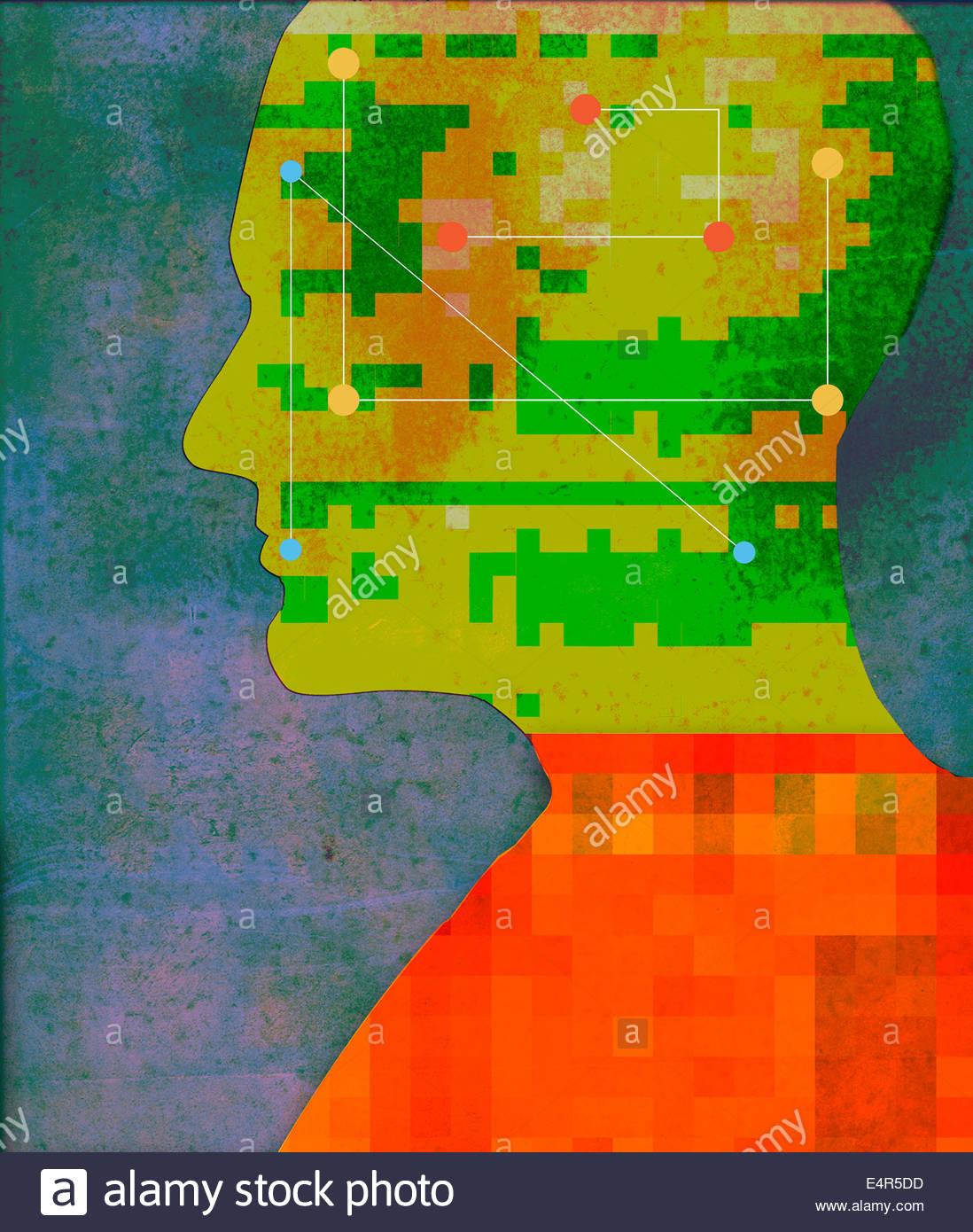 Kreise und Linien verbinden in den Männern den Kopf Stockbild