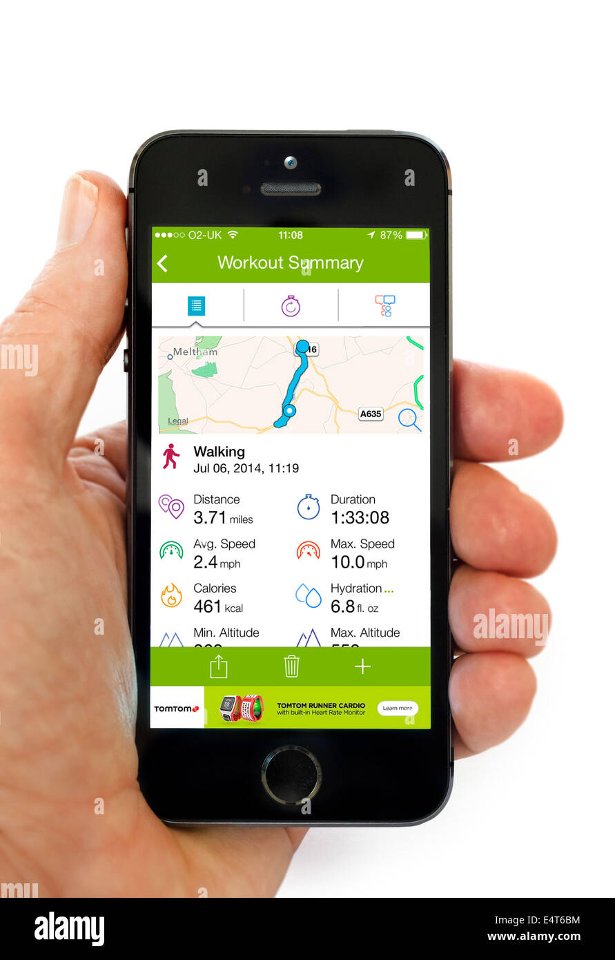 """Verwenden die GPS-Tracking app """"Aktivität"""", Endomondo, auf einem Apple iPhone 5 s Stockbild"""