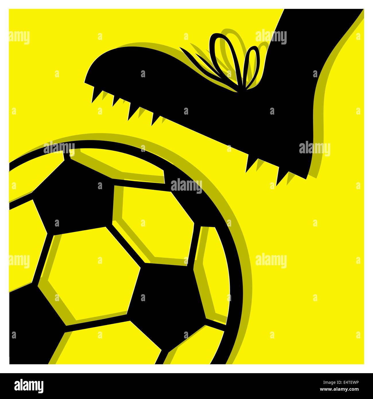 Fußball-Piktogramm gelb Stockbild